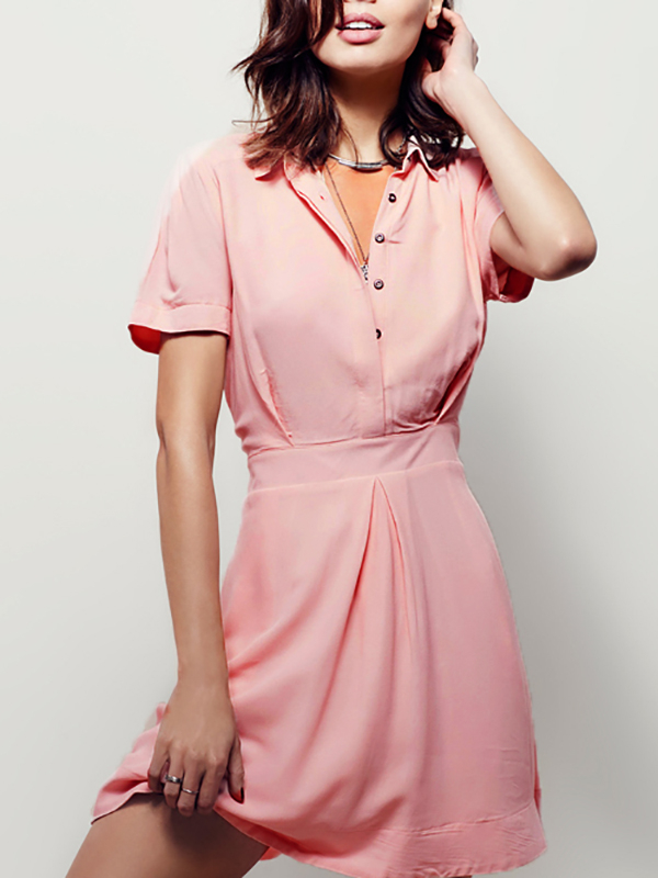 Chiffon Mini Shirt Dress in Pink healthy mini manual juicer with good price