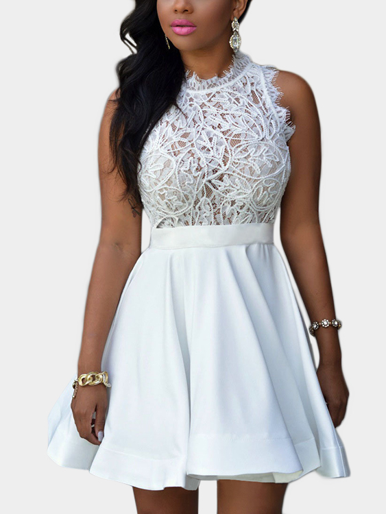 White Sleeveless Lace Detail See-through Zip-back Mini Dress zip back fit and flared plaid dress