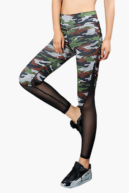 Active Camo Print Net Yarn Stitching High Waist Sports Leggings high waist camo print skinny leggings
