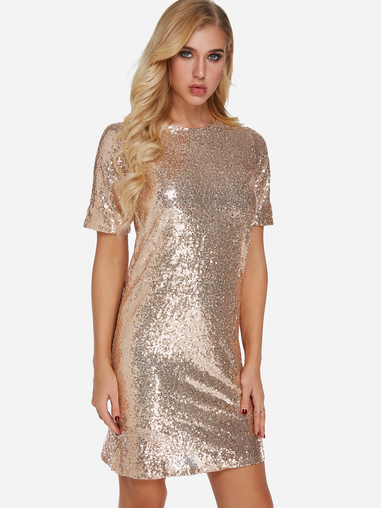Rose Gold Sequins Embellished Round Neck Short Sleeves Dress