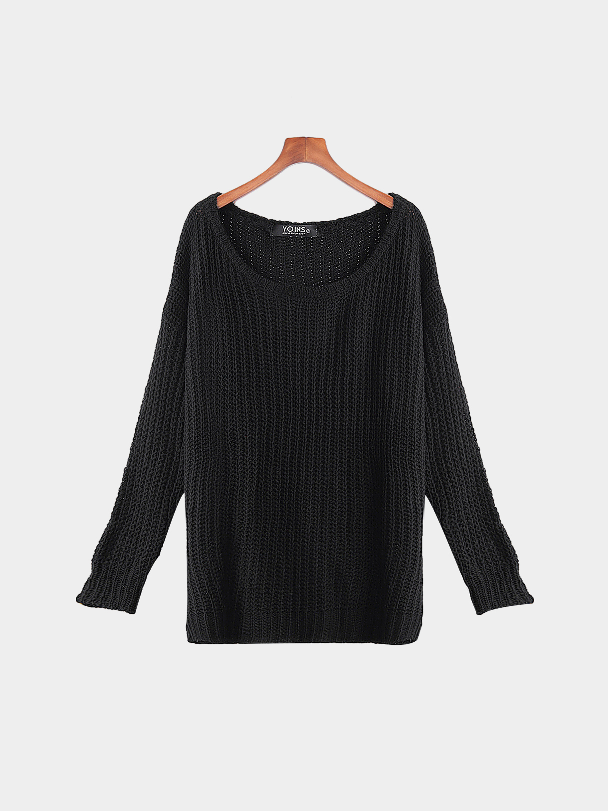 Black Casual Round Neck Knitted Jumper