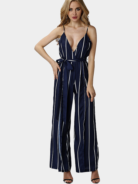 See Through Stripe Pattern Sleveless V-neck High Waist Wide Leg Trousers Jumpsuit sleeveless denim wide leg jumpsuit