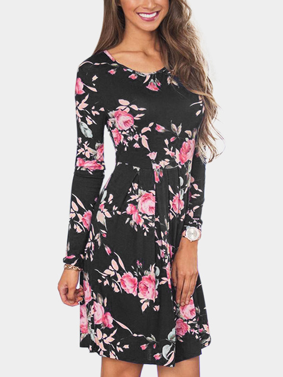 Black Floral Print Round Neck Long Sleeves High-waisted Dress