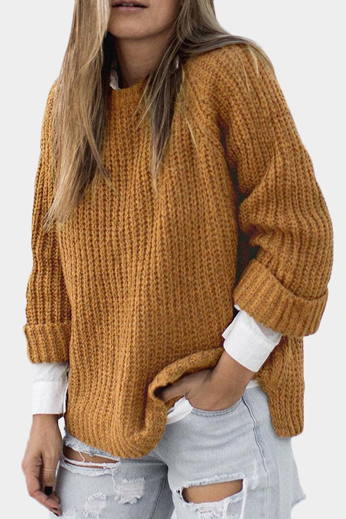 купить Khaki Knit Oversize Round Neck Long Sleeved Sweater недорого