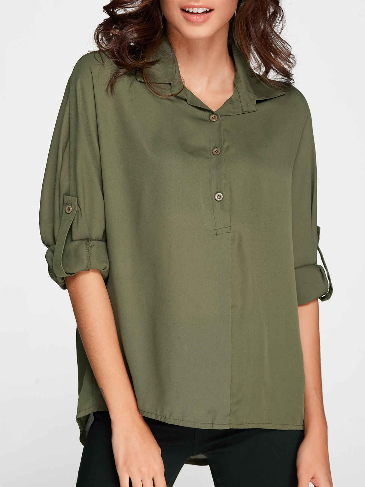 "Green V-neck Long Sleeves Blouse ã±â""ã±âƒã±â'ã°â±ã°â¾ã° ã°âºã°â° attic flowers g14qs0628"