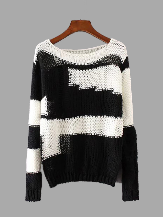 Classic Neck Contrast Color Hollow Out Knit Sweater обучение карты