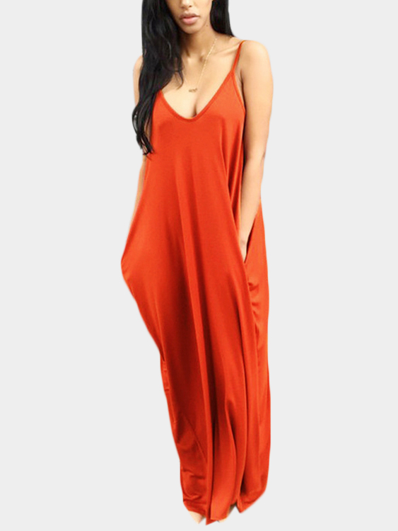 Casual V-neck Sleevesless Side Pockets Maxi Dress in Orange orange roll neck casual dress with two side pockets