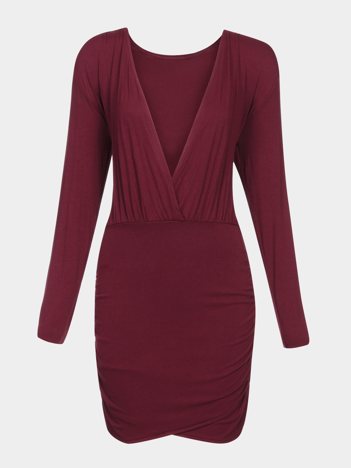 Red Plunging V-neck Wrap Party Dress