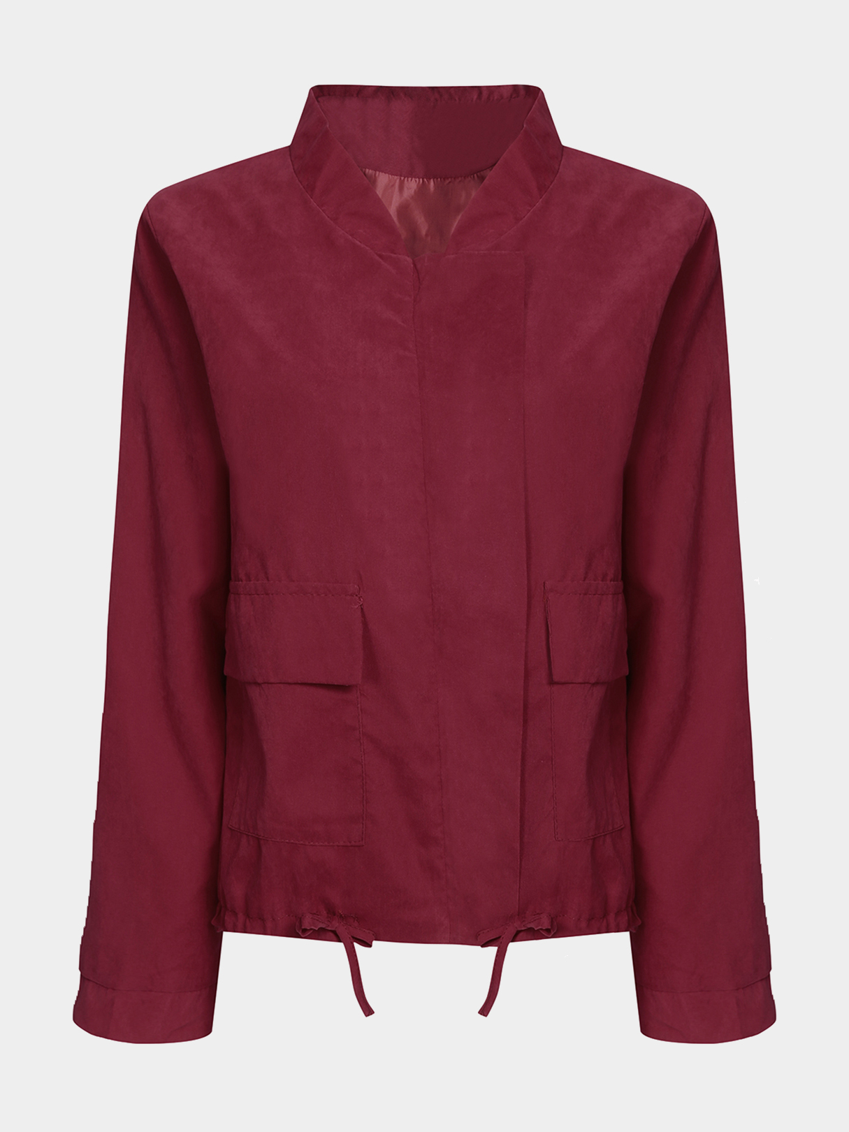 Wine Red Casual Coat With Drawstring Hem