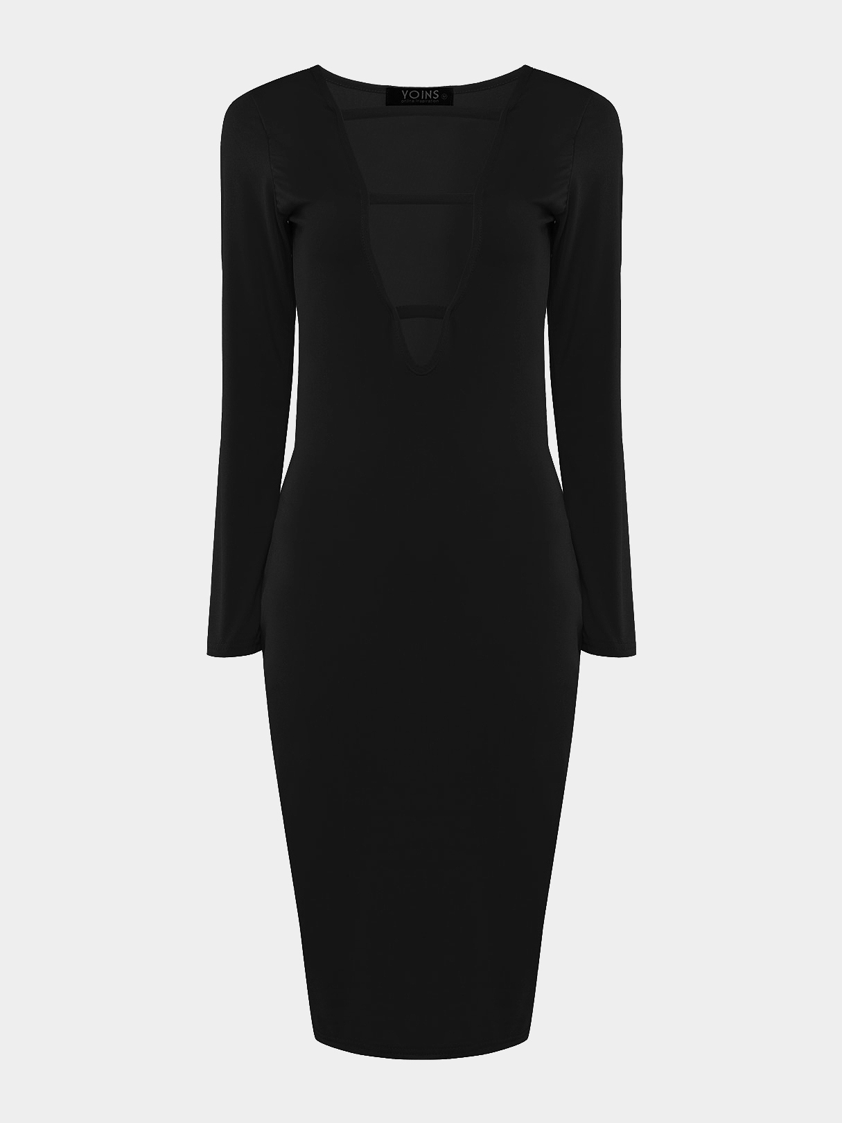 Black Body-Conscious Dress with Sexy Strap