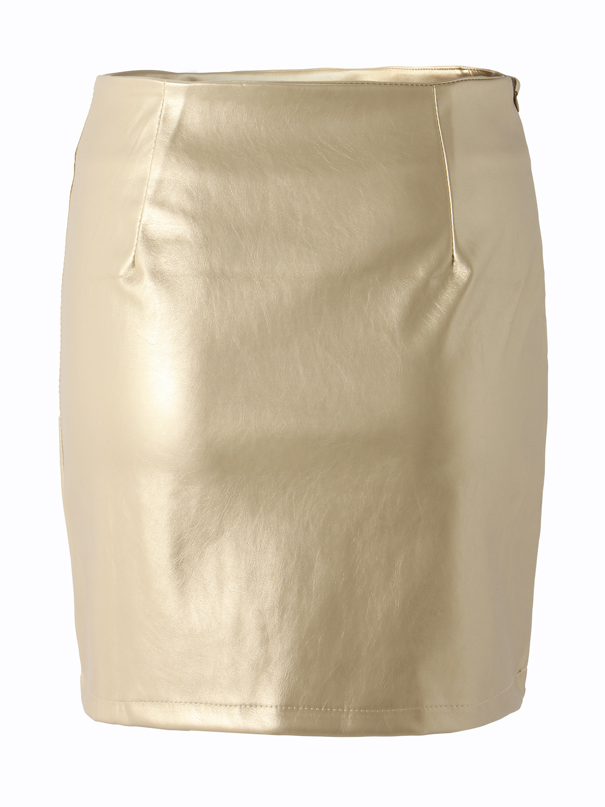 Gold High Waist PU Skirts