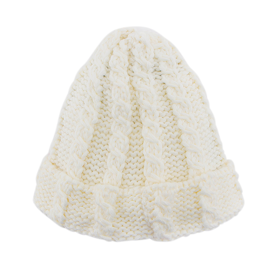 White Cable Knit Beanie Hat