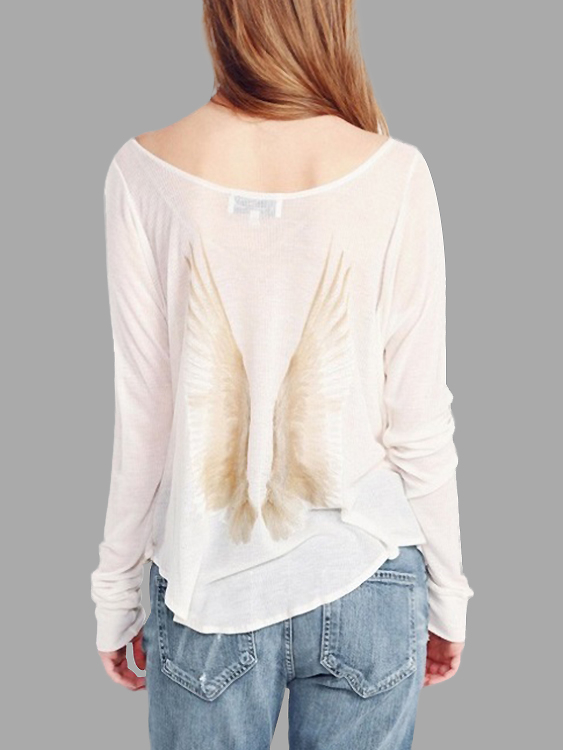 White Scoop Neck Feather Print Back Curved Hem Top horowitz troubleshootong &amp repairing electronic test equipment 2ed paper only page 8