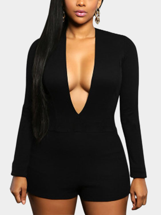 Black Sexy Bodycon Playsuit stylish rhinestoned dolphin heart rose gold plating necklace