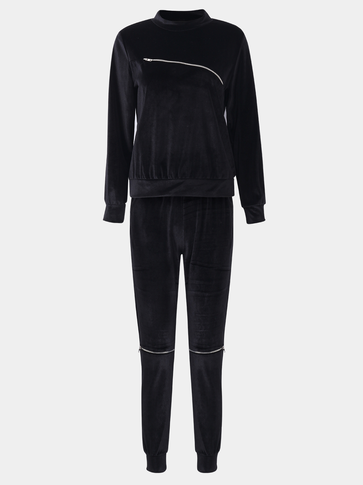 Active Zip Design Elastic Velvet Tracksuit in Black after you