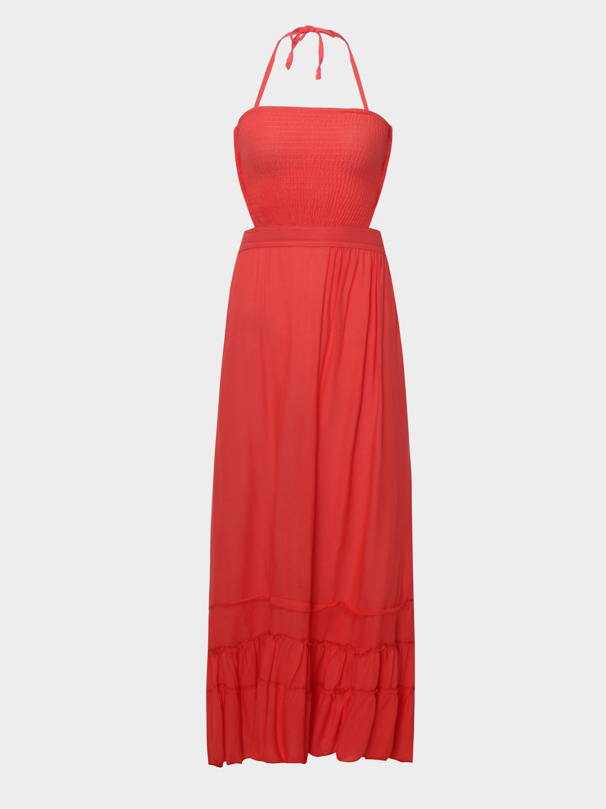 Orange Backless Design Plain Halter Sleeveless Maxi Dress orange pleated design zipper front sleeveless sexy mini dress