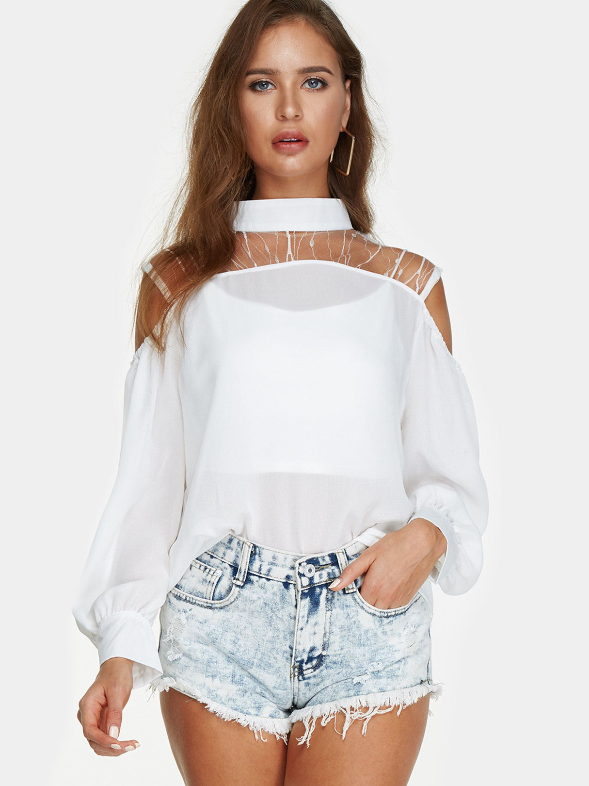 White Lace Details Off The Shoulder Lantern Sleeves Summer Top white lace details off shoulder bell sleeves crop top