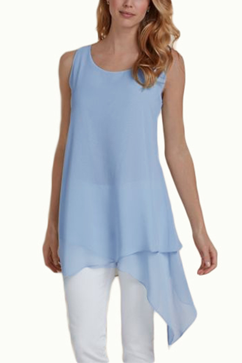 Light Blue Sexy Round Neck Irregular Hem Cami Top geo print knot hem top