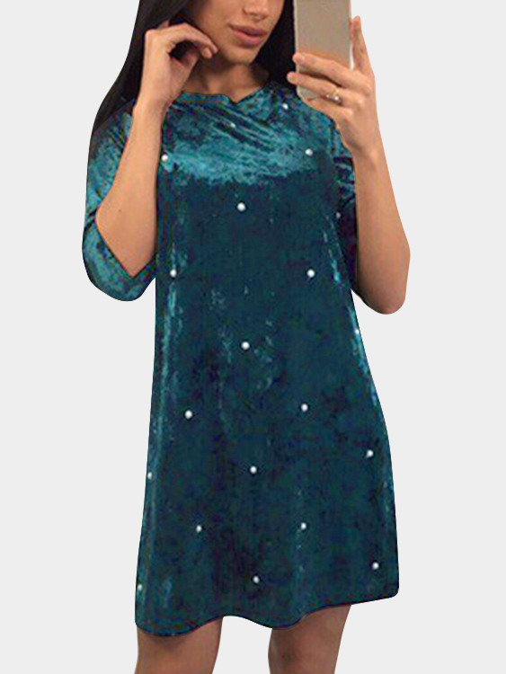Green Round Neck Half Sleeves Dress with Beads Design green round neck mini dress