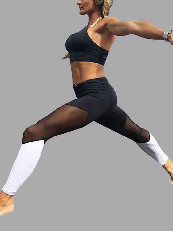 White Fashion Mesh Patchwork Bodycon Sport Leggings