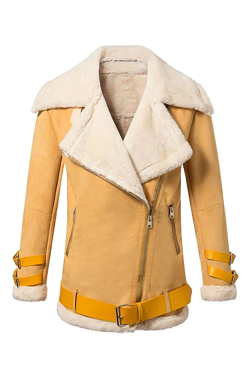 Suede Belted Lapel Coat in Yellow