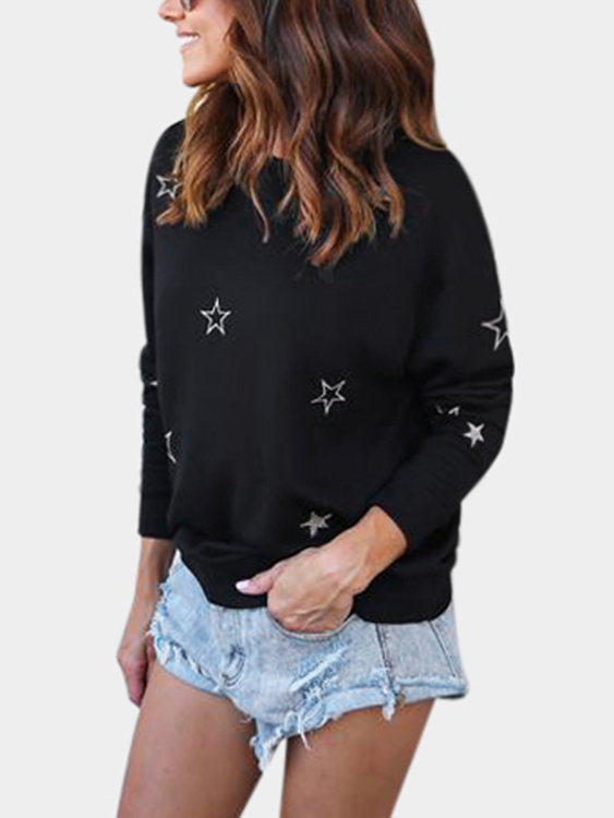 Black Star Pattern Round Neck Long Sleeves T-shirt jansson t moomin and the wishing star