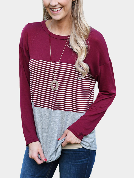 Burgundy Stripe Stitching Round Neck Long Sleeves T-shirt black stripe stitching round neck long sleeves t shirt
