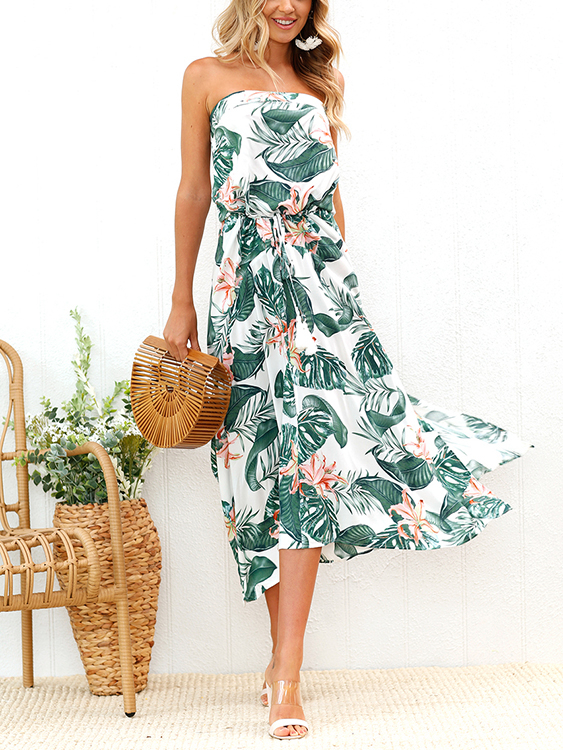 цена Random Floral Print Slit Design Off-The-Shoulder Drawstring Waist Dress