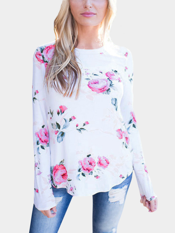 White Random Floral Print  Round Neck Long Sleeves T-shirt blue causal random floral print drawstring polo neck long sleeves hoodies