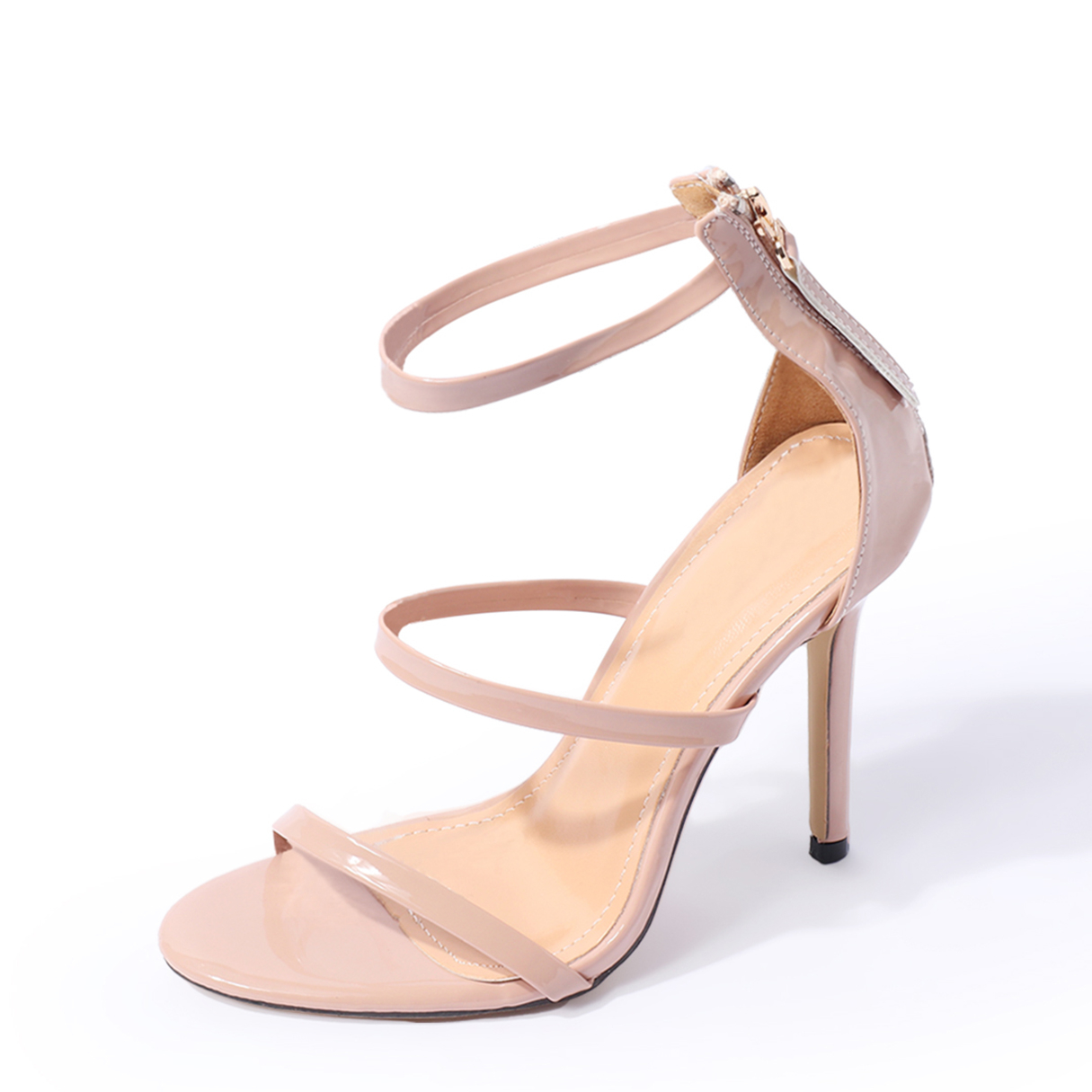 Nude Leather-look Ankle Strap Zipper Back High Heel Sandals women sandals 2018 fashion summer shoes woman rome ankle strap flat sandals casual peep toe gladiator sandals low heel shoes