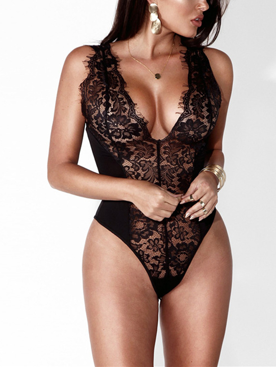 Black See-through Lace Deep V-Neck Sexy Bodysuits black sexy sleeveless strappy lace details bralet with no falsies