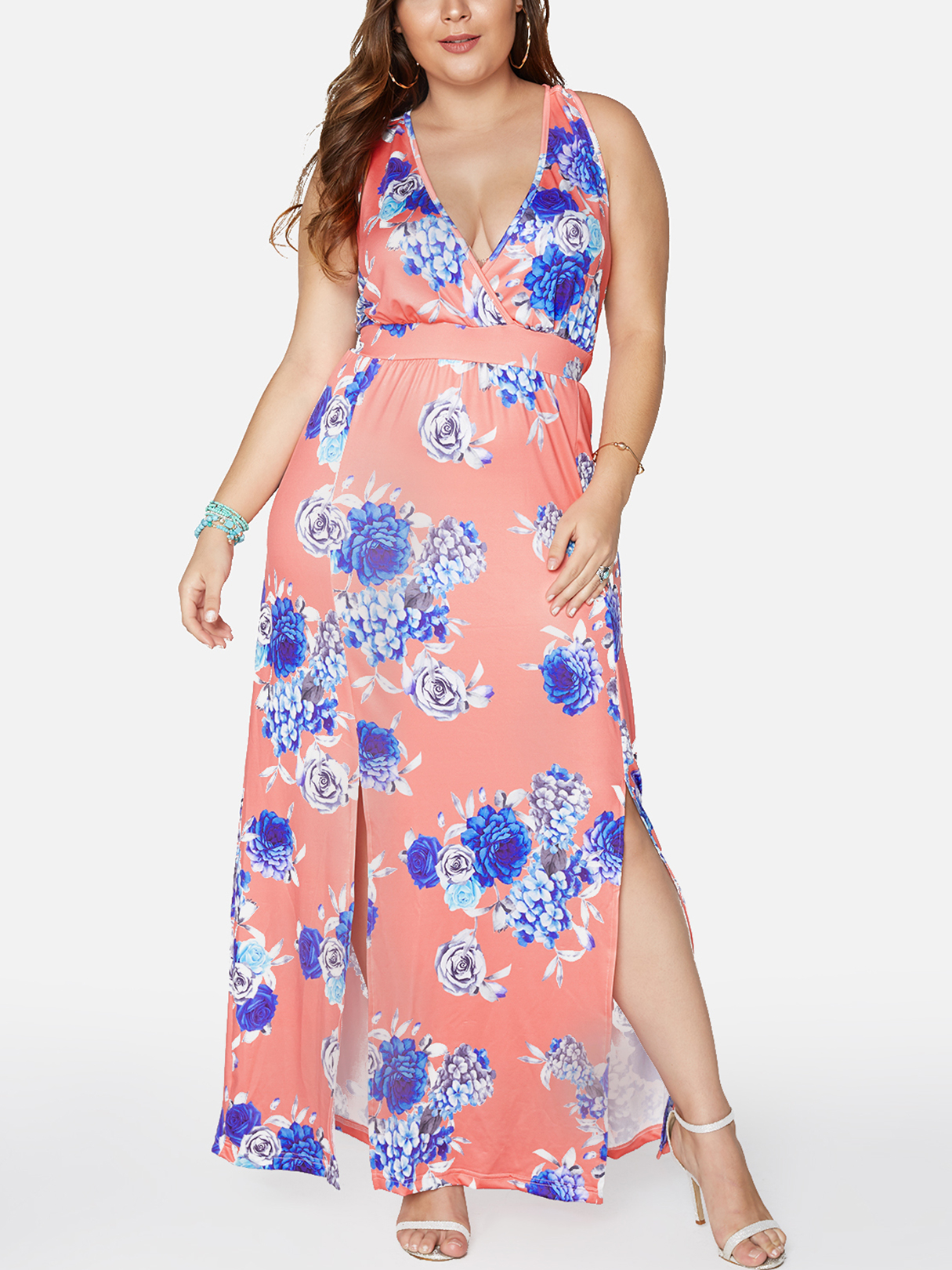 Random Floral Print Backless Deep V-neck Slit Hem Dress