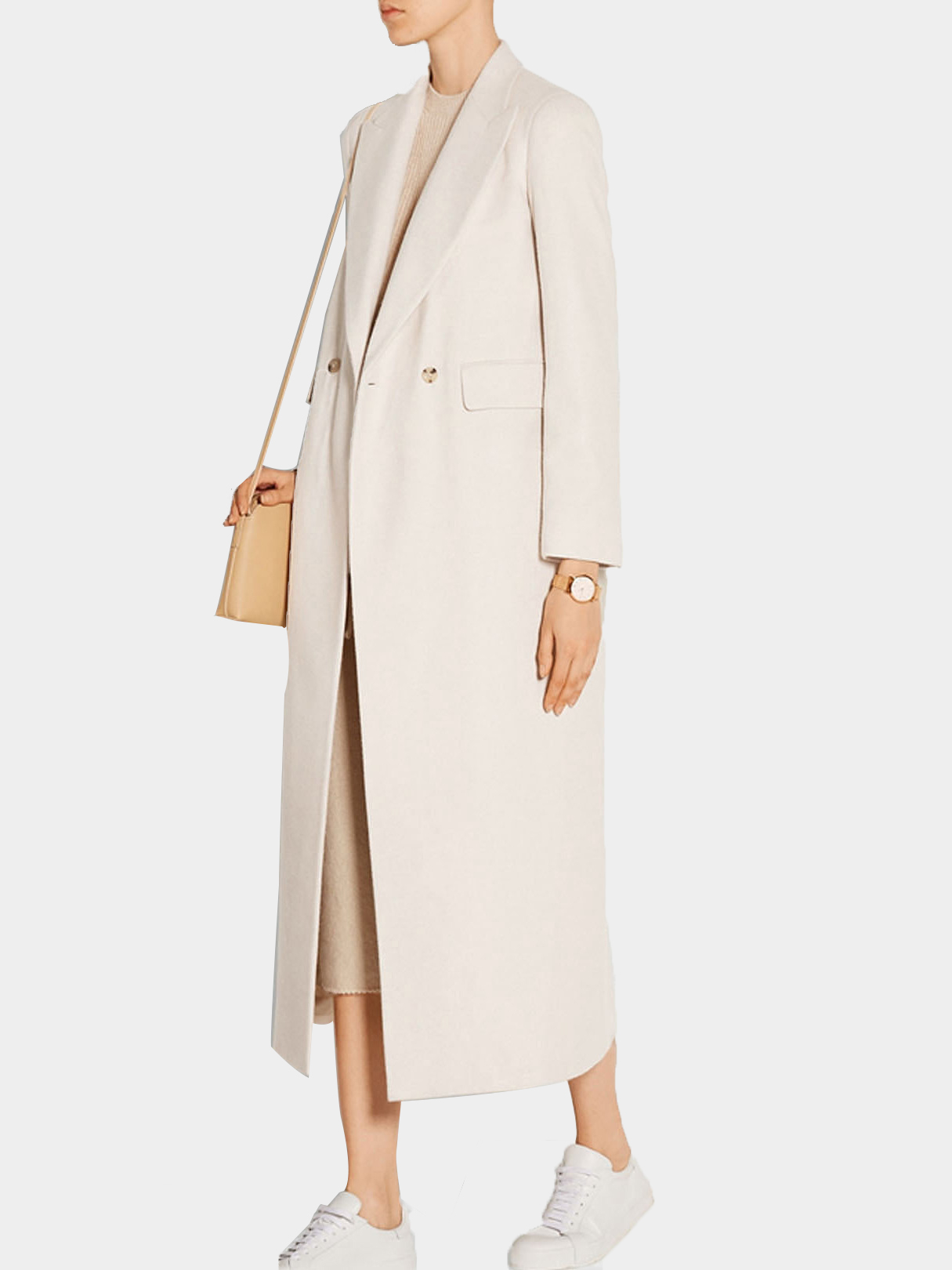 Lapel Collar Duster Coat with Double Breasted