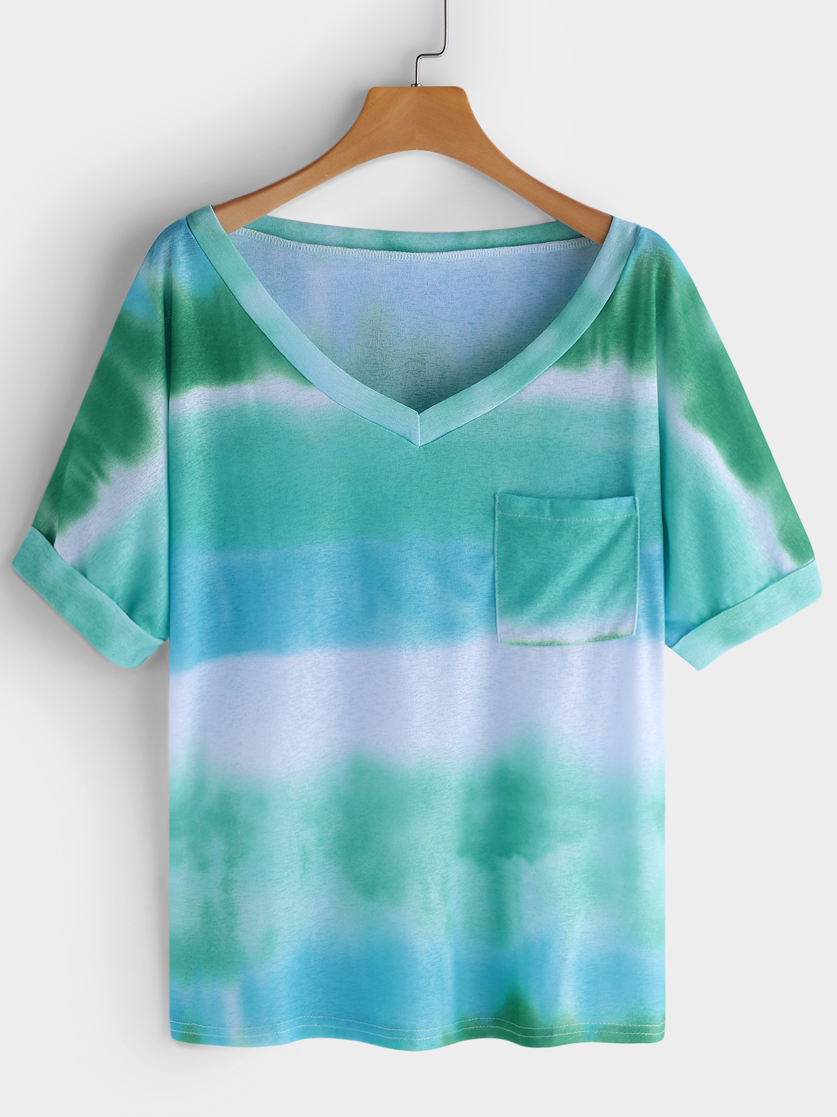 Green Printed Stripe V-neck Short Sleeves T-shirts fashion easy matched stripe pattern shirt