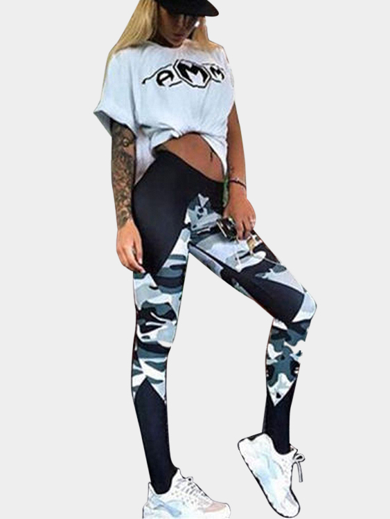 Fashion Camouflage Bodycon Yoga Leggings For Sport camouflage print ankle leggings