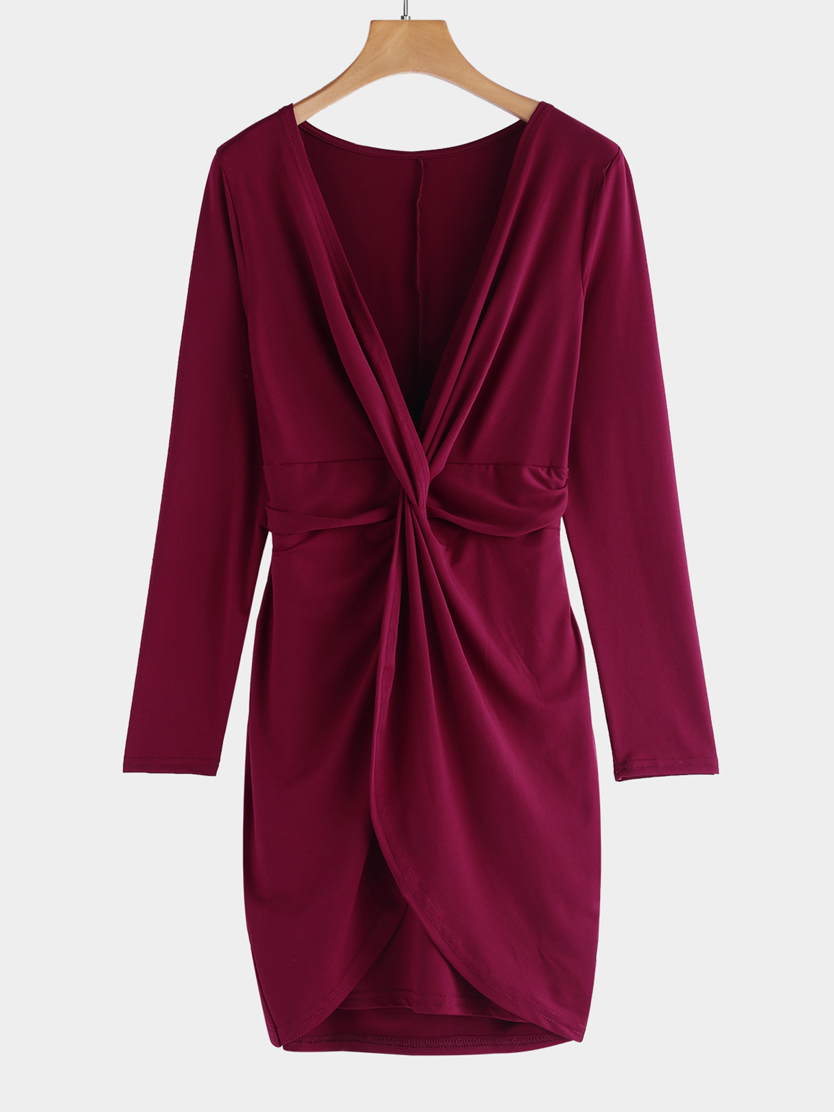 Burgundy Twist-Front Design Deep V-Neck Long Sleeves Sexy Dress folk print v neck mini dress with long sleeves