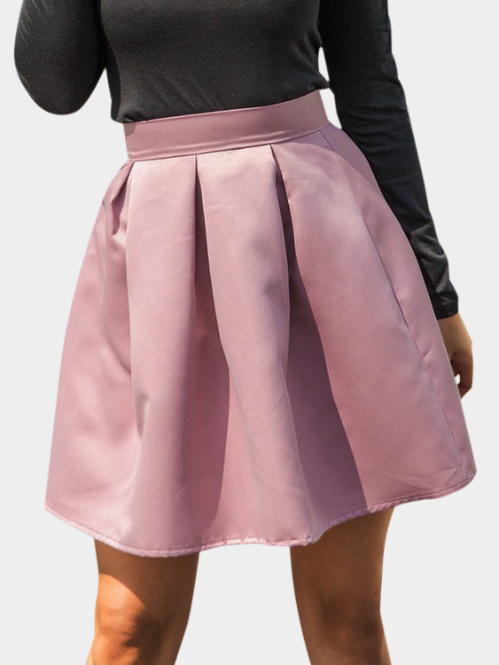 Pink Cute High-waisted Leather Mini Skirt pleated high waist a line skater skirt