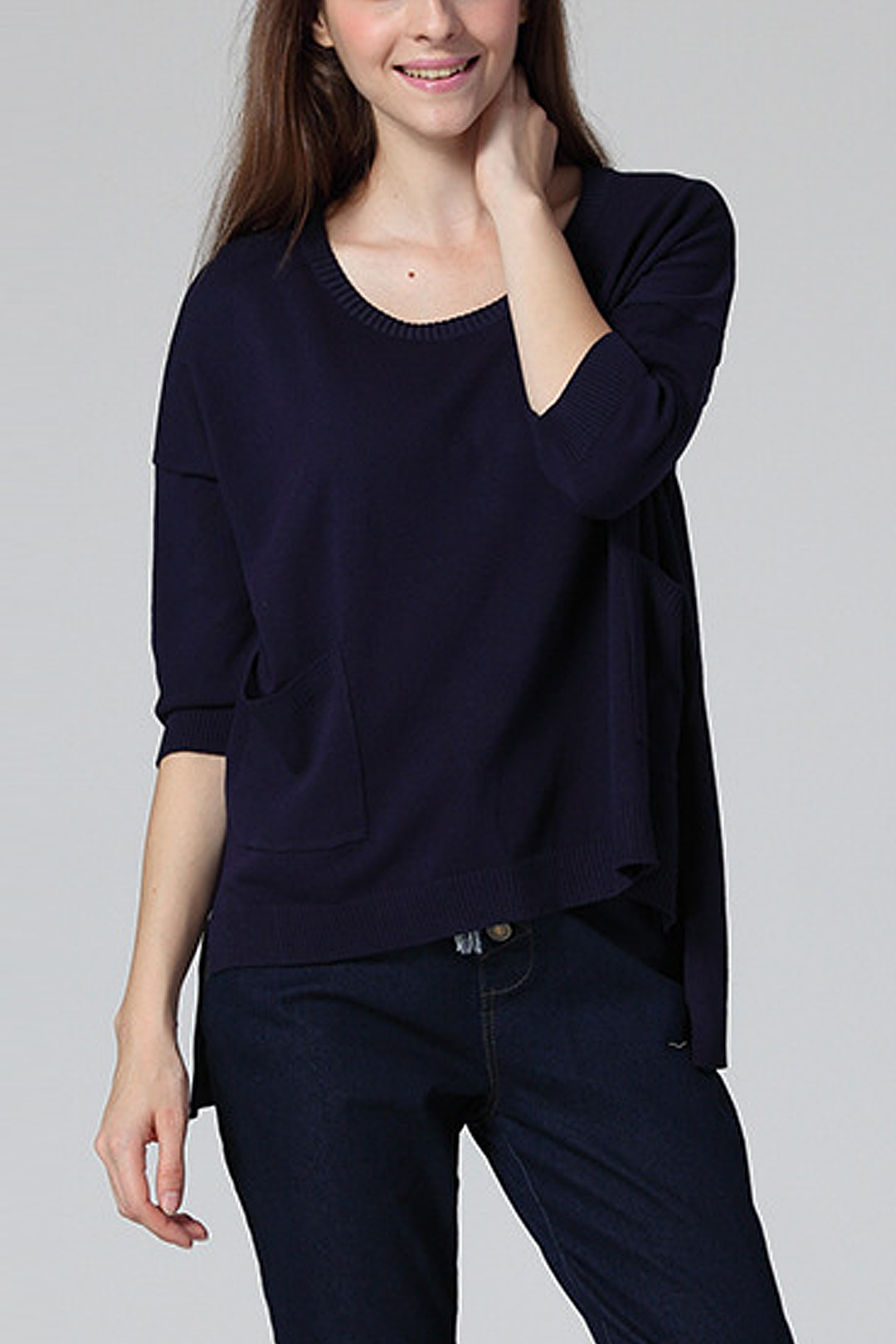 Navy Blue 1/2 Sleeve Relaxed Knit Top with High Low Hem