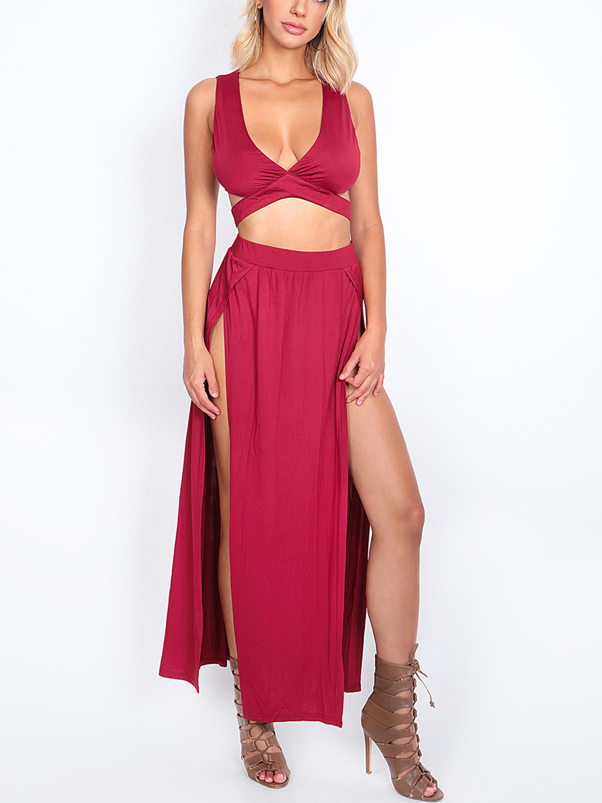 Burgundy Sleeveless V-neck Cutout Crop Top and Maxi Splited Skirt Co-ord burgundy tube top and trumpet trousers co ord