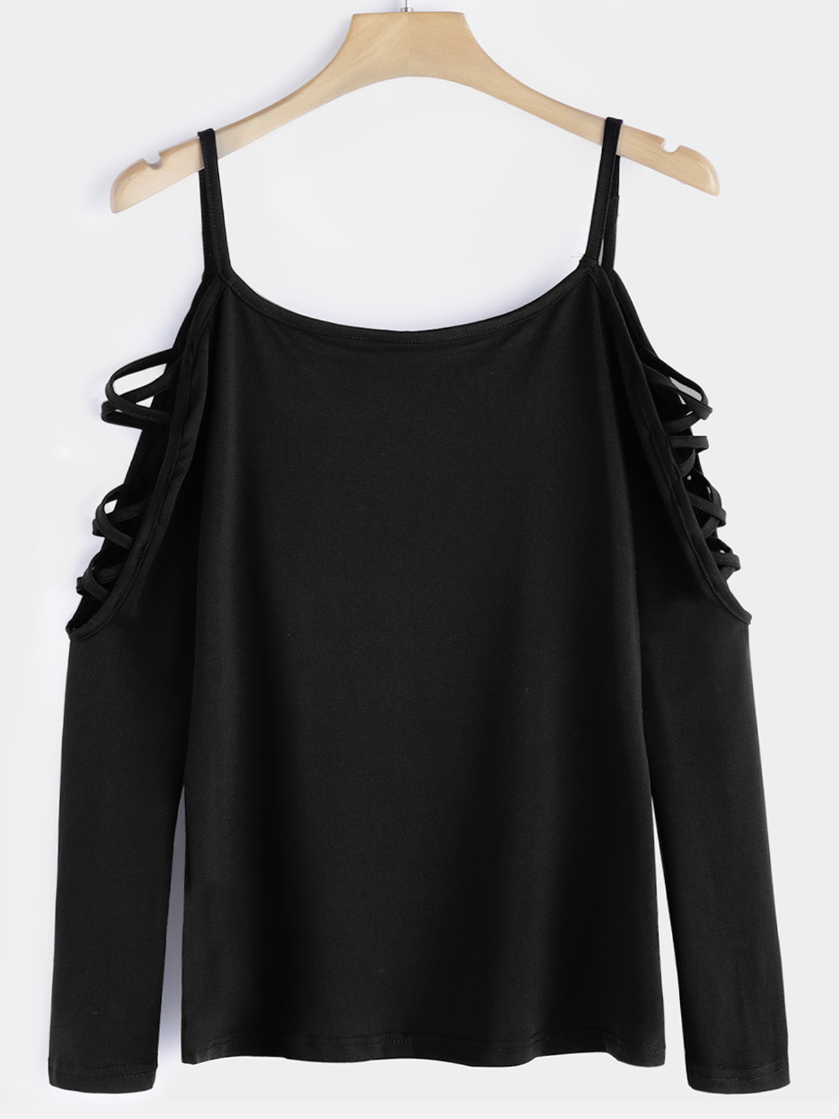 Black Cut Out Round Neck Long Sleeves T-shirts цены