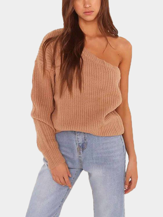 Khaki One Shoulder Long Sleeves Knit Sweater black one shoulder long sleeves causal sweater
