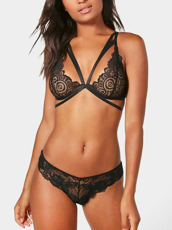 Black Lace-up Design Lace Details V-neck Lingerie Set
