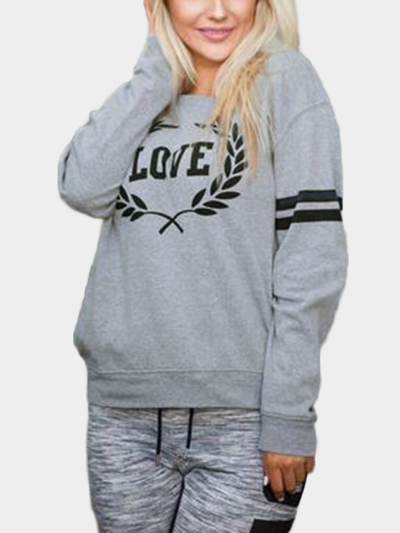Grey Letter Pattern Round Neck Long Sleeves Sweatshirts grey letter pattern long sleeves loose sweatshirts