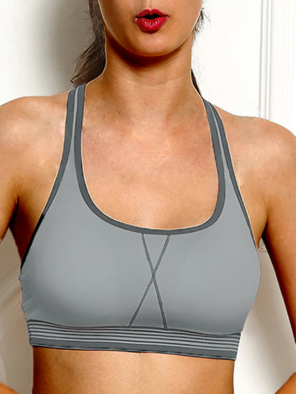 Grey Halter-neck Sports Bra with Padded Chest they do it with mirrors