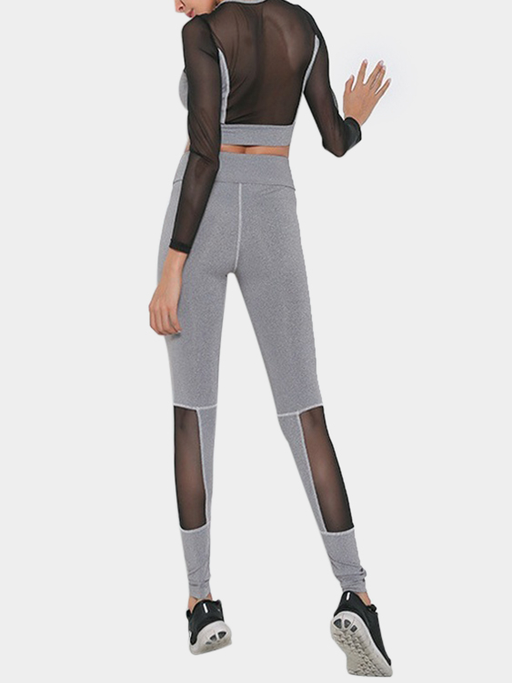 Active Cut Out Net Yarn Stitching Design Elastic Tracksuit in Grey active net yarn stitching high waisted sports leggings in grey