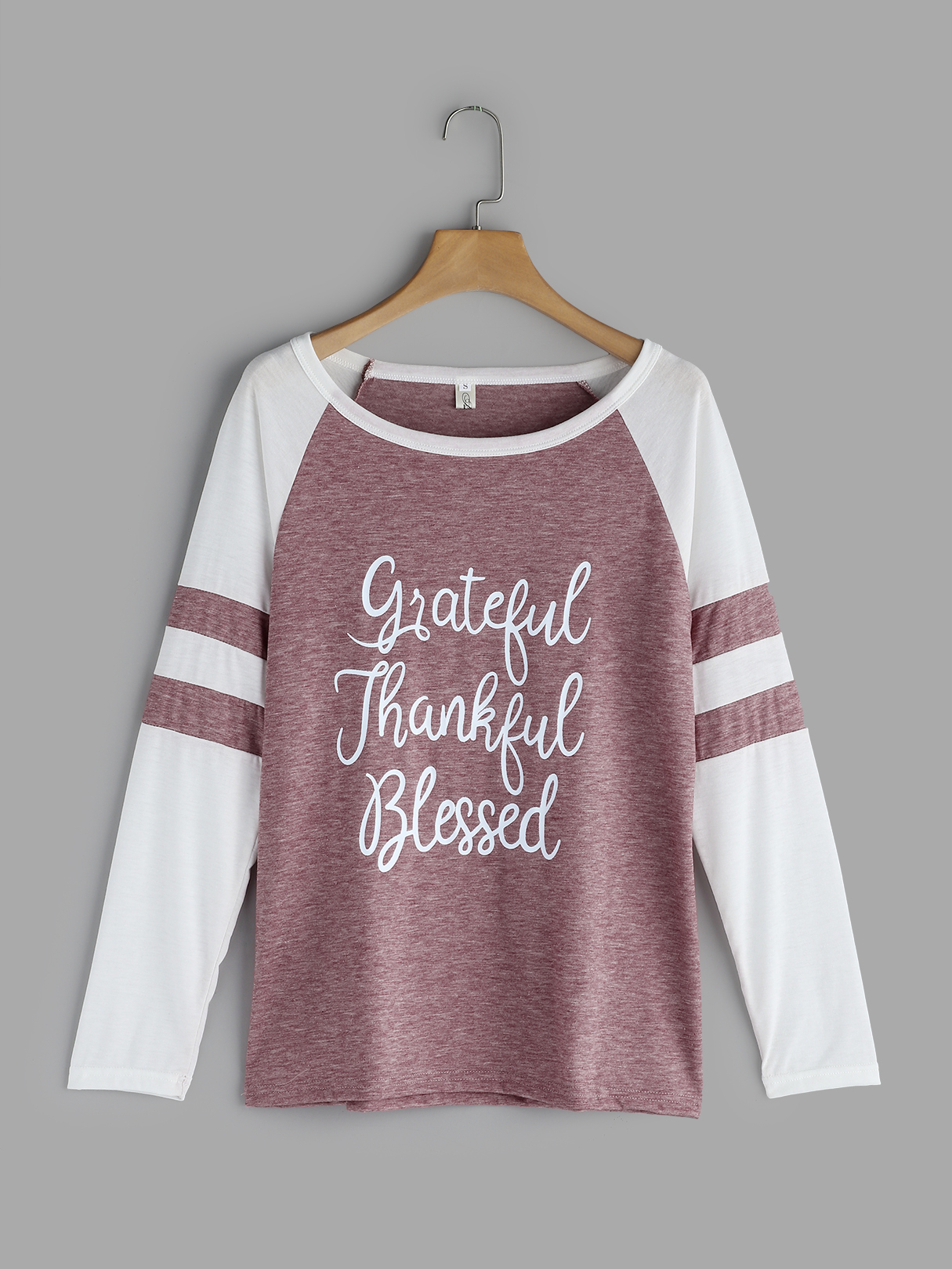 Pink Letter Round Neck Long Sleeves T-shirts grey letter round neck long sleeves t shirts