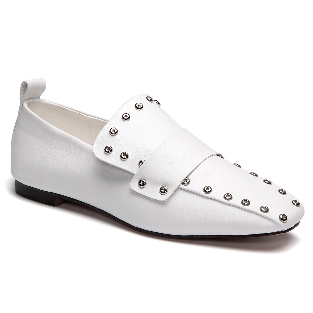 White Studded Embellished Square Loafers