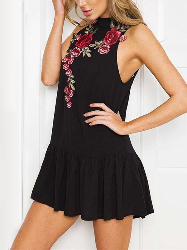 Black Vintage Rose Embroidery Ruffle Trim Sleeveless Dress ruffle trim cut out back halter top