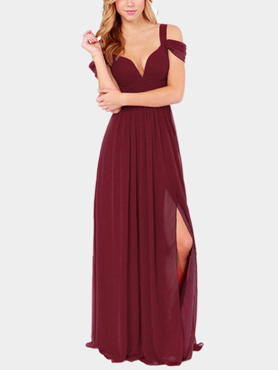 Sexy Burgundy Backless Dress With Cold Shoulder Design today students book 2