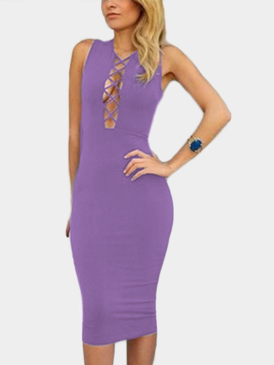 Purple Plunging Neck Cut Out Crisscross Design Sleeveless Sexy Party Dress black cut out flounce peplum high waist sleeveless sexy party dress